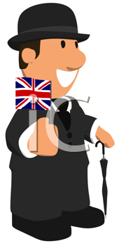 Royalty Free Clipart Image of a British Man With a Flag