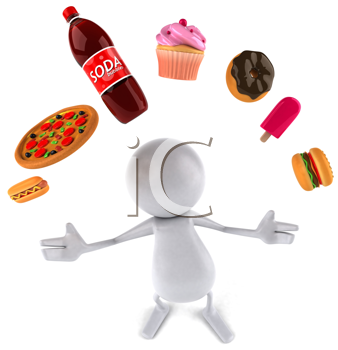 Royalty Free Clipart Image of a Person Juggling Fast Food