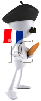 Royalty Free Clipart Image of a Frenchman in a Beret With a Bread Stick