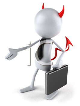 Royalty Free Clipart Image of a Devil Businessman Extending a Hand