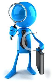 Royalty Free Clipart Image of a Blue Businessman With a Briefcase and Magnifying Glass