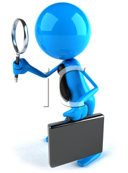 Royalty Free Clipart Image of a Guy in a Tie With a Magnifying Glass and a Briefcase