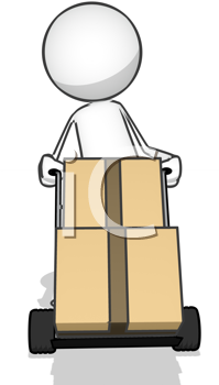 Royalty Free Clipart Image of an Image Moving Boxes