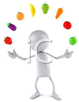 Royalty Free Clipart Image of a Faceless Person Juggling Fruits and Veggies