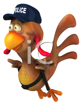 Royalty Free Clipart Image of a Chicken Police Officer