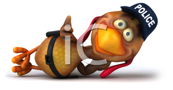 Royalty Free Clipart Image of a Chicken Cop Lying Down