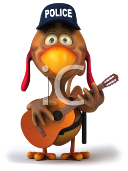 Royalty Free Clipart Image of a Guitar Playing Police Chicken