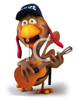 Royalty Free Clipart Image of a Singing Police Chicken