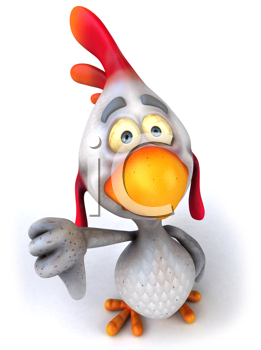 Royalty Free Clipart Image of a Chicken Giving a Thumbs Down