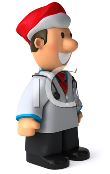 Royalty Free Clipart Image of a Doctor in a Santa Hat