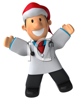 Royalty Free Clipart Image of a Happy Doctor in a Santa Hat