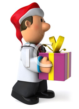 Royalty Free Clipart Image of a Doctor in a Santa Hat With a Gift