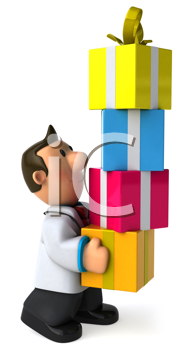 Royalty Free Clipart Image of a Doctor With Gift Boxes