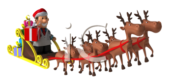 Royalty Free Clipart Image of a Doctors in a Santa Hat Riding Santas Sleigh