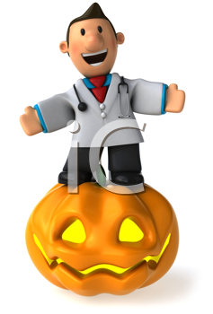 Royalty Free Clipart Image of a Doctor With a Jack-o-Lantern