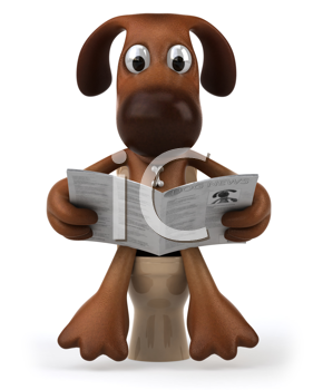 Royalty Free Clipart Image of a Dog on a Toilet
