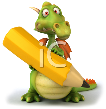 Royalty Free Clipart Image of a Dragon With a Pencil