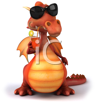 Royalty Free Clipart Image of a Dragon Drinking a Drink