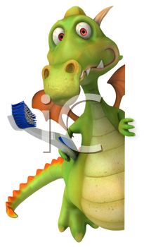Royalty Free Clipart Image of a Dragon With a Toothbrush