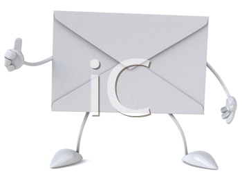 Royalty Free Clipart Image of an Envelope Giving a Thumbs Up