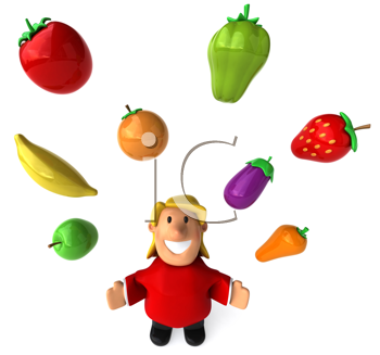 Royalty Free Clipart Image of an Overweight Woman Juggling Fruits and Vegetables