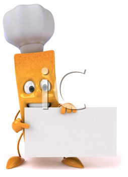 Royalty Free Clipart Image of a French Fry Chef With a Sign