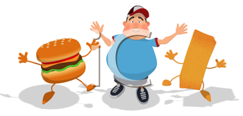 Royalty Free Clipart Image of a Happy, Man, Burger and French Fry