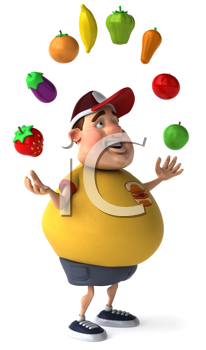 Royalty Free Clipart Image of a Man Juggling Fruit and Vegetables