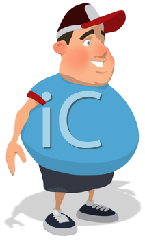 Royalty Free Clipart Image of an Overweight Man