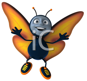 Royalty Free Clipart Image of a Happy Butterfly