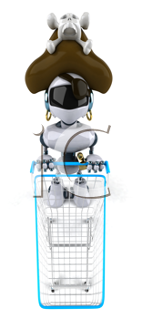 Royalty Free Clipart Image of a Shopping Robot Pirate