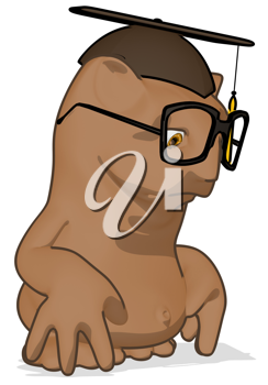 Royalty Free Clipart Image of a Owl Professor