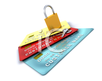 Royalty Free Clipart Image of a Padlock on Credit Cards