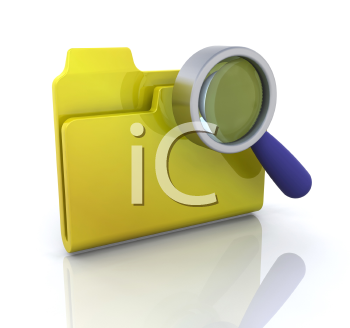 Royalty Free Clipart Image of a Disk and Magnifying Glass