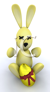 Royalty Free Clipart Image of an Easter Bunny and Egg