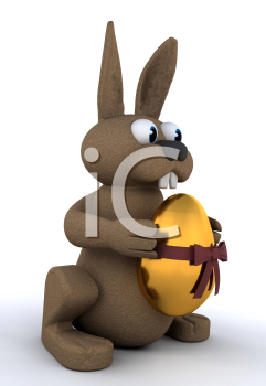 Royalty Free Clipart Image of a Bunny With a Golden Egg
