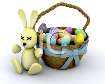 Royalty Free Clipart Image of an Easter Bunny By a Basket