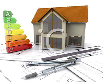 Royalty Free Clipart Image of Energy Ratings and a House on Plans