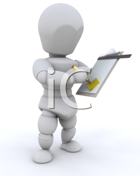 Royalty Free Clipart Image of a Person Writing on a Clipboard