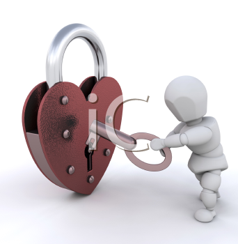 Royalty Free Clipart Image of a Person Opening a Heart Shaped Padlock