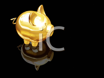 Royalty Free Clipart Image of a Gold Piggy Bank