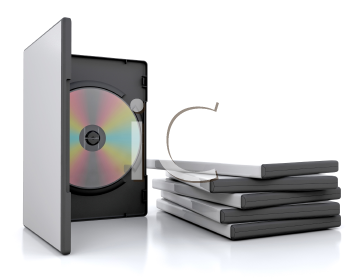 Royalty Free Clipart Image of an Open DVD Case Beside a Pile of Cases