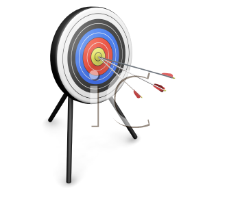 Royalty Free Clipart Image of Three Arrows in a Target