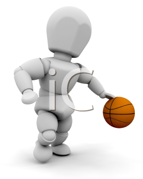 Royalty Free Clipart Image of a 3D Guy With a Basketball