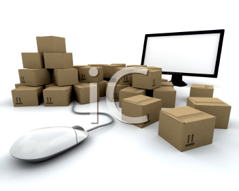 Royalty Free Clipart Image of a Group of Packages Around a Computer and Mouse