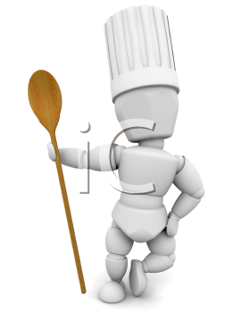 Royalty Free Clipart Image of a Person With a Wooden Spoon