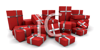 Royalty Free Clipart Image of a Bunch of Red Presents
