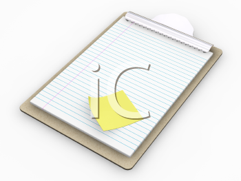 Royalty Free Clipart Image of a Clipboard With a Post-it Note Stuck To It