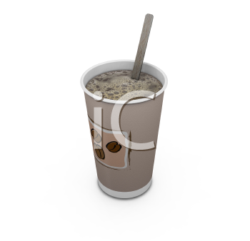 Royalty Free Clipart Image of Coffee With a Stir Stick
