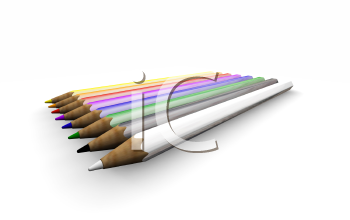 Royalty Free Clipart Image of Pencil Crayons in a Row